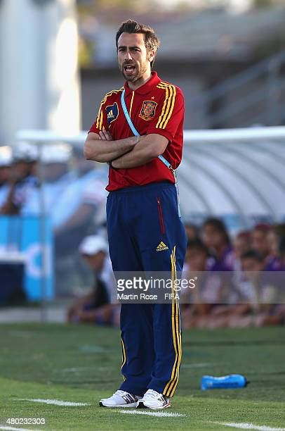 Jorge Vilda head coah of Spain reacts during the FIFA U17 Women's World Cup 2014 group C match between Paraguay and Spain at Edgardo Baltodano...