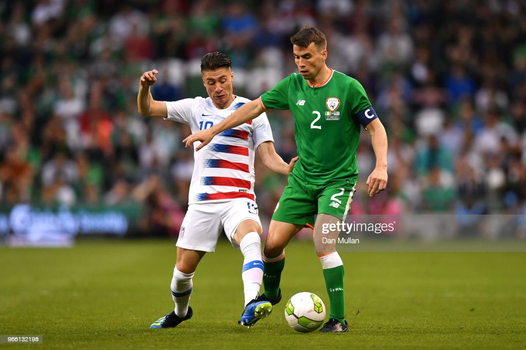 Jorge Villafana of The United States and Seamus Coleman of the Republic of Ireland compete for the ball during the International Friendly match between the Republic of Ireland and The United States at Aviva Stadium on June 2, 2018 in Dublin, Ireland.