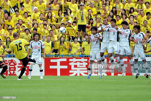 Jorge Wagner of Kashiwa Reysol scores the first goal during the JLeague match between Kashiwa Reysol and Kawasaki Frontale at Hitachi Kashiwa Soccer...