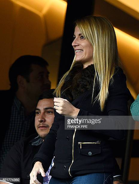 Jorgelina Cardoso whife of Paris SaintGermain's Argentinian forward Angel Di Maria attends the French L1 football match between Paris SaintGermain...