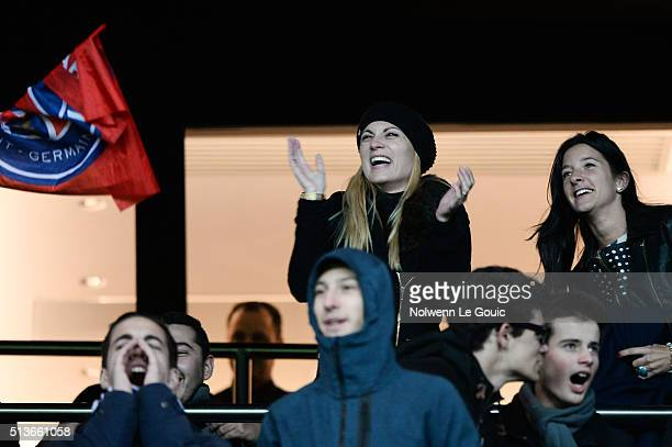 Jorgelina Cardoso wife Angel di Maria of PSG celebrate his goal during the French Ligue 1 between PSG and SCO Angers at Parc des Princes on January...