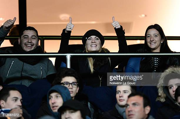 Jorgelina Cardoso wife Angel di Maria of PSG during the French Ligue 1 between PSG and SCO Angers at Parc des Princes on January 23 2016 in Paris...