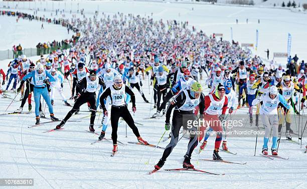 Jorgen Aukland of Norway leads at the start of the FIS Cross Country Marathon Cup 'La Sgambeda' on December 19 2010 in Livigno Italy