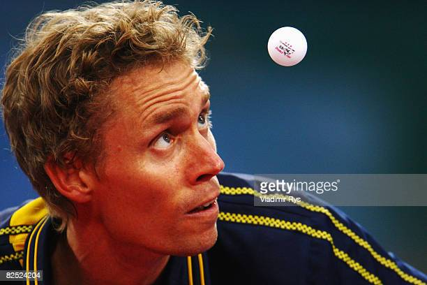 Jorgen Persson of Sweden competes in the Men's Singles Bronze Medal Match held at the Peking University Gymnasium on Day 15 of the Beijing 2008...