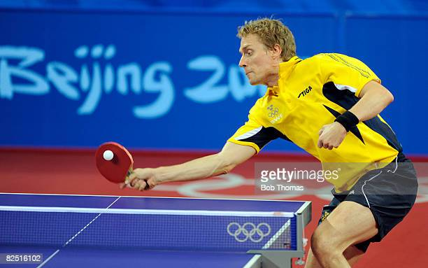 Jorgen Persson of Sweden plays a shot in the Quarter Final of the Men's Singles Table Tennis event against Zoran Primorac of Croatia held at the...