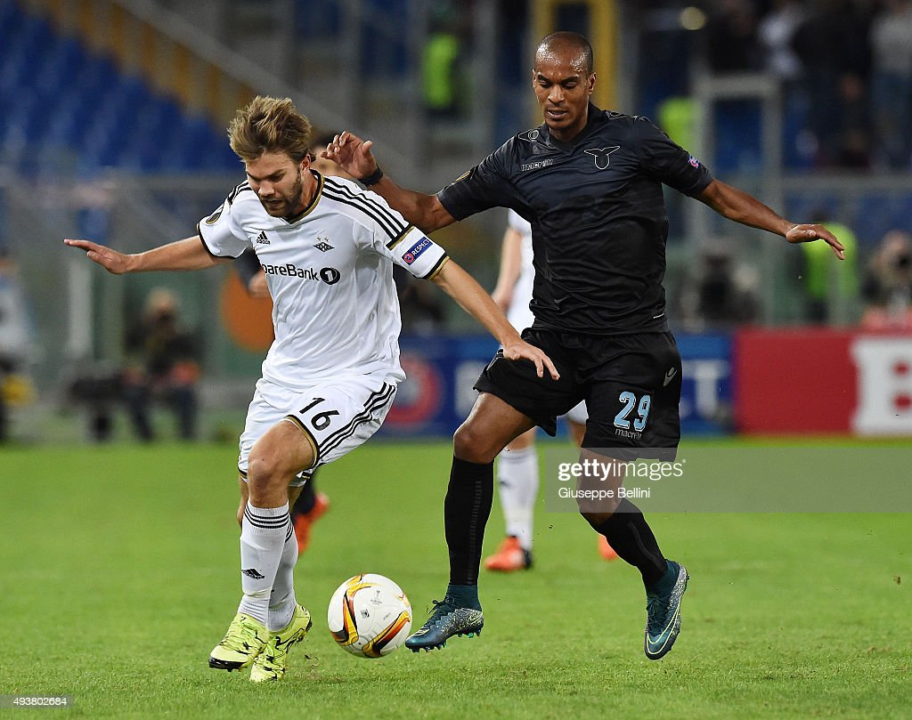 Jorgen Skjelvik of Rosenborg BK and Abdoulay Konko of SS Lazio in action during the UEFA Europa League group G match between SS Lazio and Rosenborg BK at Stadio Olimpico on October 22, 2015 in Rome, Italy.