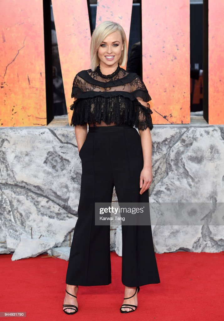 Jorgie Porter attends the European Premiere of 'Rampage' at Cineworld Leicester Square on April 11, 2018 in London, England.