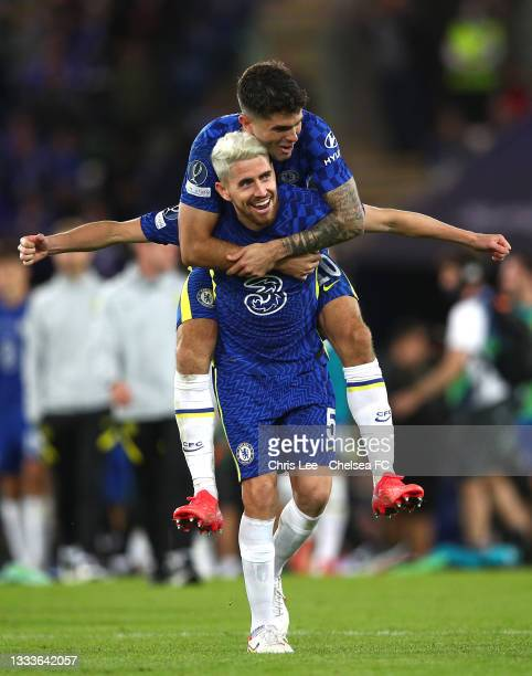 Jorginho and Christian Pulisic of Chelsea celebrate following their side's victory in the UEFA Super Cup 2021 match between Chelsea FC and Villarreal...
