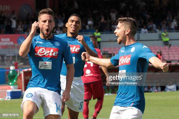 Jorginho and Dries Mertens of SSC Napoli celebrate the 20 goal scored by Dries Mertens during the Serie A match between SSC Napoli and Cagliari...