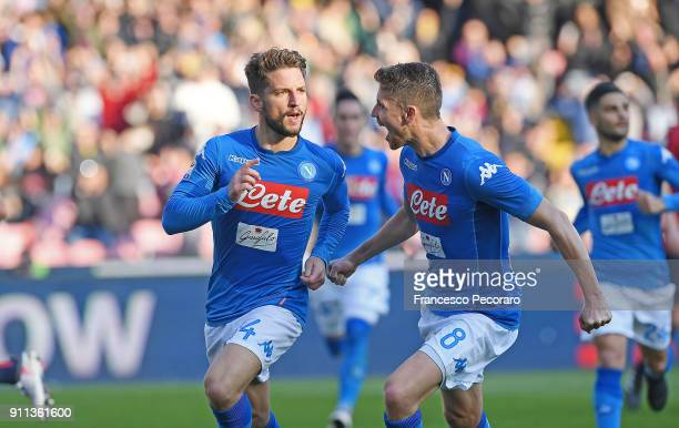 Jorginho and Dries Mertens of SSC Napoli celebrate the 21 goal scored by Dries Mertens during the serie A match between SSC Napoli and Bologna FC at...
