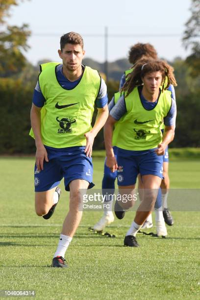 Jorginho and Ethan Ampadu of Chelsea during a training session at Chelsea Training Ground on October 5 2018 in Cobham England