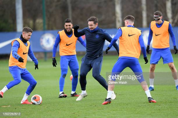 Jorginho and Frank Lampard of Chelsea during a training session at Chelsea Training Ground on February 21 2020 in Cobham United Kingdom