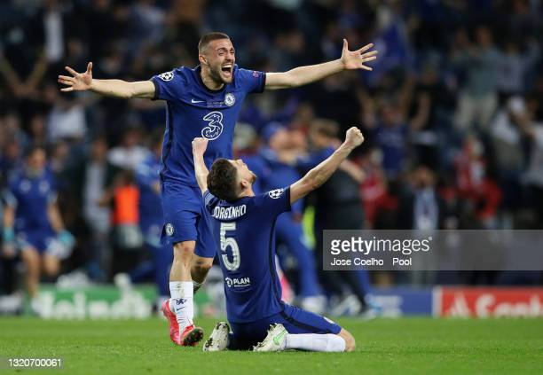 Jorginho and Mateo Kovacic of Chelsea celebrate following their side's victory in the UEFA Champions League Final between Manchester City and Chelsea...