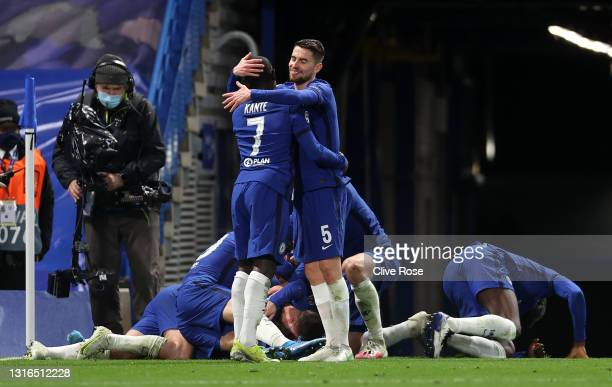 Jorginho and Ngolo Kante of Chelsea celebrate after Mason Mount scored their team's second goal during the UEFA Champions League Semi Final Second...