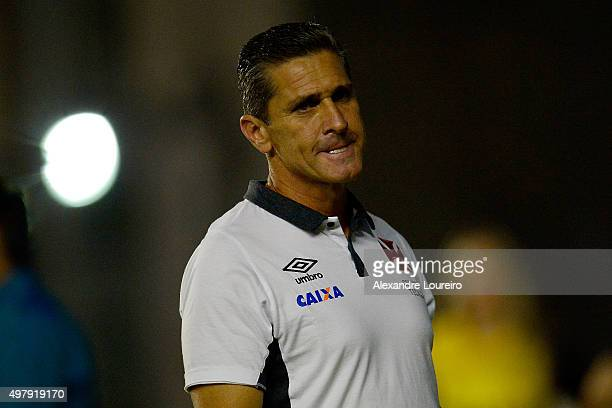 Jorginho head coach of Vasco in action during the match between Vasco and Corinthians as part of Brasileirao Series A 2015 at Sao Januario Stadium on...