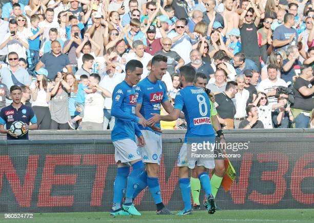 Jorginho Jose Callejon and Arkadiusz Milik of SSC Napoli celebrate the 10 goal scored by Arkadiusz Milik during the Serie A match between SSC Napoli...