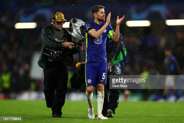 Jorginho of Chelsea applauds fans after the UEFA Champions League group H match between Chelsea FC and Malmo FF at Stamford Bridge on October 20,...