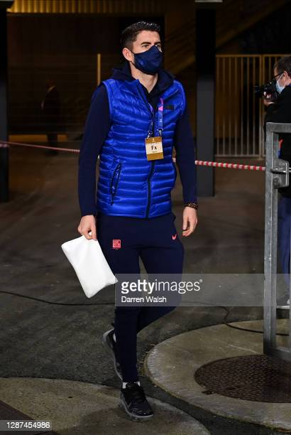 Jorginho of Chelsea arrives prior to the UEFA Champions League Group E stage match between Stade Rennais and Chelsea FC at Roazhon Park on November...