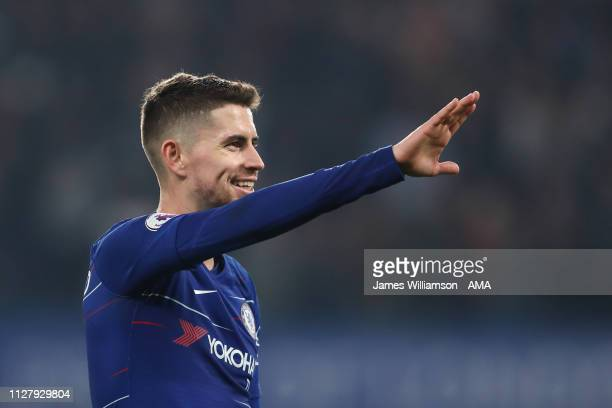 Jorginho of Chelsea at full time of the Premier League match between Chelsea FC and Tottenham Hotspur at Stamford Bridge on February 27 2019 in...
