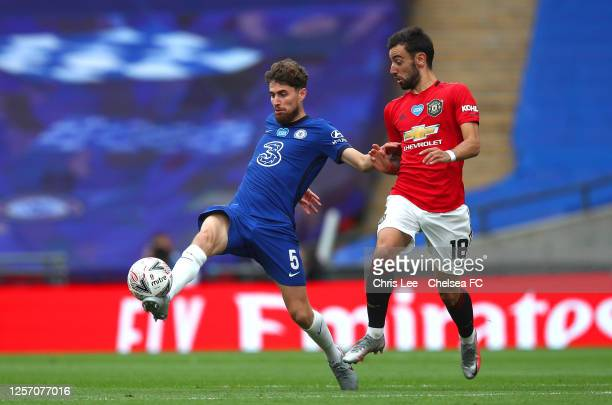 Jorginho of Chelsea battles for possession with Bruno Fernandes of Manchester United during the FA Cup Semi Final match between Manchester United and...