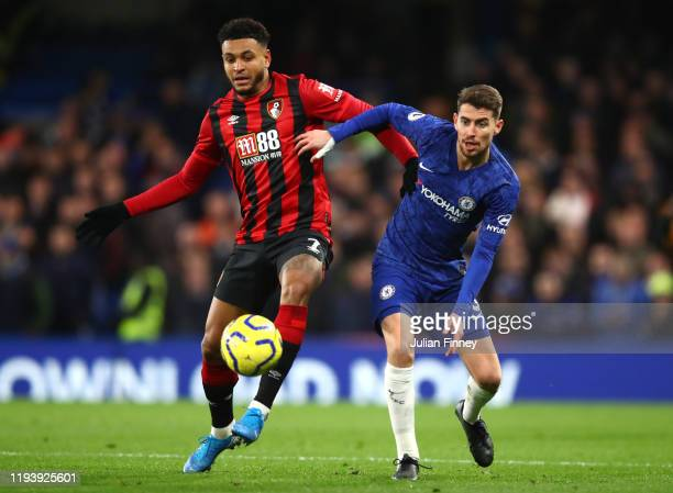 Jorginho of Chelsea battles for possession with Joshua King of AFC Bournemouth during the Premier League match between Chelsea FC and AFC Bournemouth...