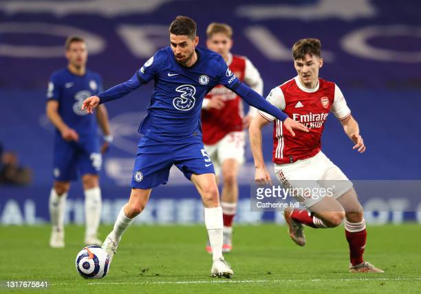 Jorginho of Chelsea battles for possession with Kieran Tierney of Arsenal during the Premier League match between Chelsea and Arsenal at Stamford...