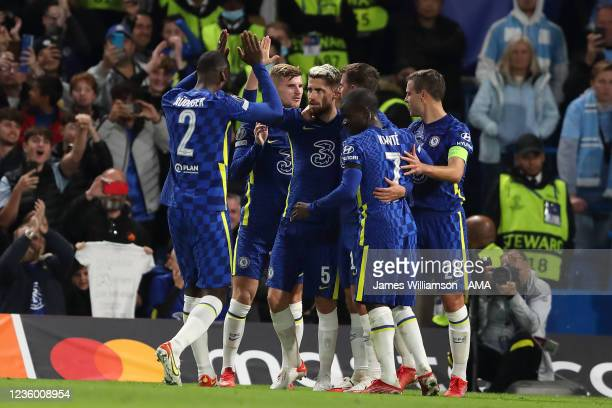 Jorginho of Chelsea celebrates after scoring a goal to make it 2-0 during the UEFA Champions League group H match between Chelsea FC and Malmo FF at...