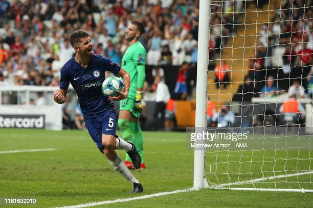 Jorginho of Chelsea celebrates after scoring a goal to make it 22 during the UEFA Super Cup Final fixture between Liverpool and Chelsea at Vodafone...