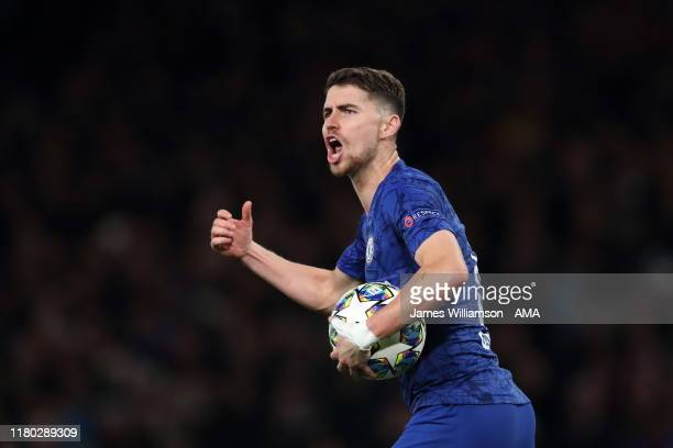 Jorginho of Chelsea celebrates after scoring a goal to make it 3-4 during the UEFA Champions League group H match between Chelsea FC and AFC Ajax at...