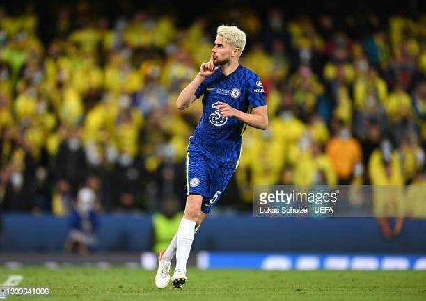 Jorginho of Chelsea celebrates after scoring his penalty in the shootout during the UEFA Super Cup 2021 match between Chelsea FC and Villarreal CF at...
