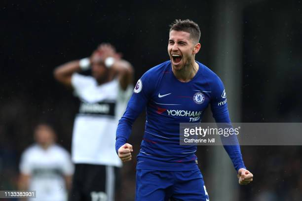 Jorginho of Chelsea celebrates after scoring his sides second goal during the Premier League match between Fulham FC and Chelsea FC at Craven Cottage...
