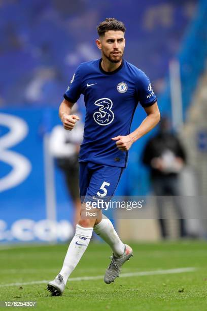 Jorginho of Chelsea celebrates after scoring his sides third goal during the Premier League match between Chelsea and Crystal Palace at Stamford...
