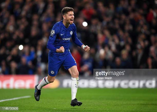 Jorginho of Chelsea celebrates after scoring his team's first goal during the UEFA Champions League group H match between Chelsea FC and AFC Ajax at...