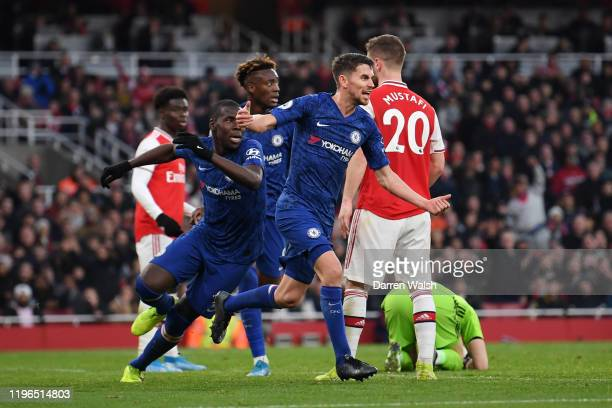 Jorginho of Chelsea celebrates after scoring his team's first goal during the Premier League match between Arsenal FC and Chelsea FC at Emirates...