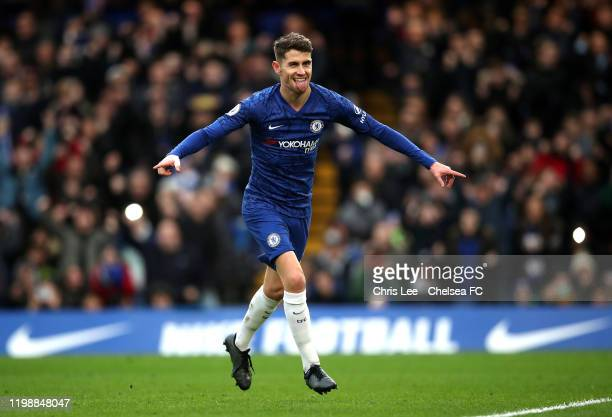 Jorginho of Chelsea celebrates after scoring his team's first goal during the Premier League match between Chelsea FC and Burnley FC at Stamford...