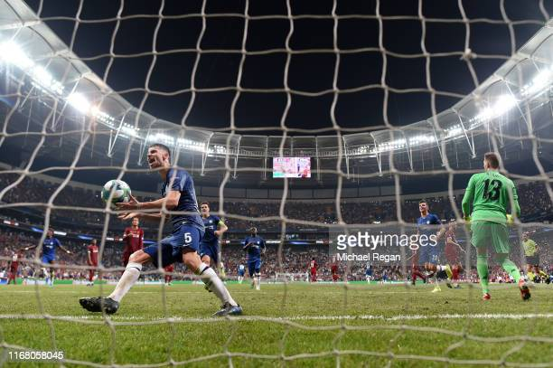 Jorginho of Chelsea celebrates after scoring his team's second goal from the penalty spot during the UEFA Super Cup match between Liverpool and...