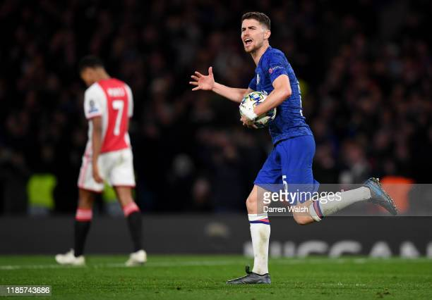 Jorginho of Chelsea celebrates after scoring his team's third goal during the UEFA Champions League group H match between Chelsea FC and AFC Ajax at...