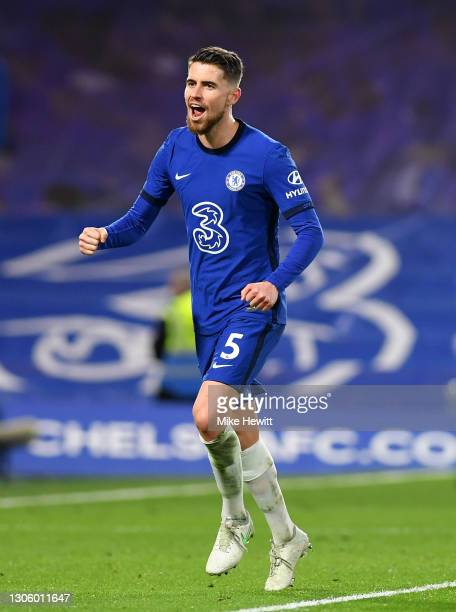 Jorginho of Chelsea celebrates after scoring their side's second goal from the penalty spot during the Premier League match between Chelsea and...