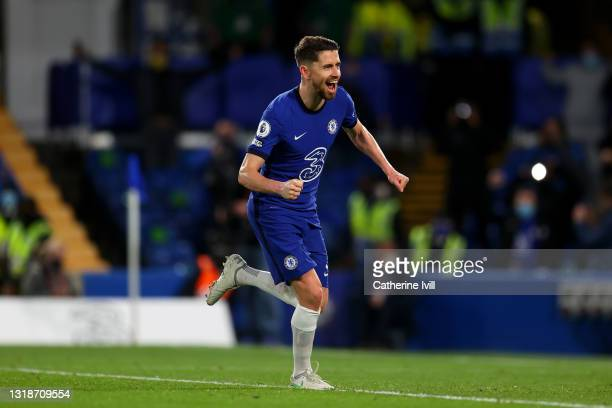 Jorginho of Chelsea celebrates after scoring their sides second goal from the penalty spot during the Premier League match between Chelsea and...