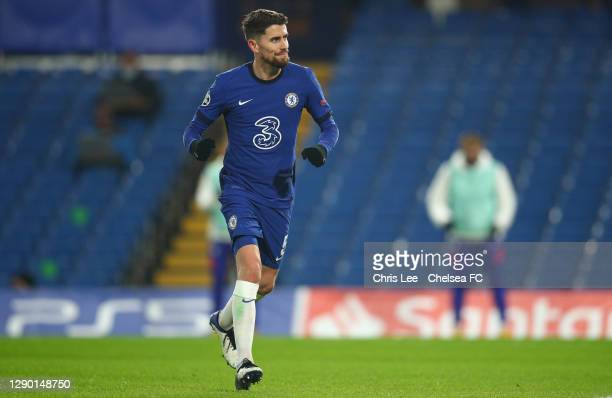 Jorginho of Chelsea celebrates after scoring their team's first goal during the UEFA Champions League Group E stage match between Chelsea FC and FC...