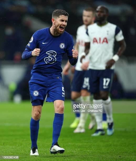 Jorginho of Chelsea celebrates after scoring their team's first goal during the Premier League match between Tottenham Hotspur and Chelsea at...
