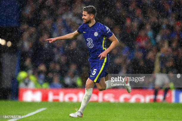 Jorginho of Chelsea celebrates after scoring their team's fourth goal during the UEFA Champions League group H match between Chelsea FC and Malmo FF...