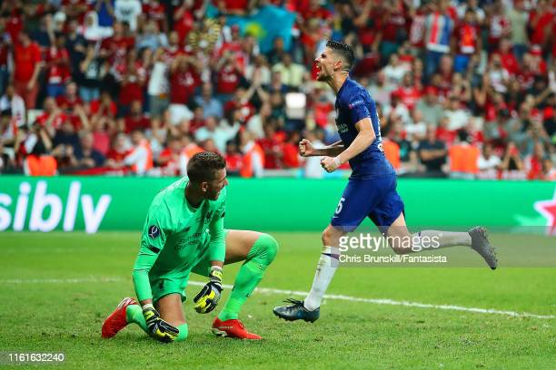 Jorginho of Chelsea celebrates scoring a penalty in extra time to make it 22 during the UEFA Super Cup match between Liverpool and Chelsea at...
