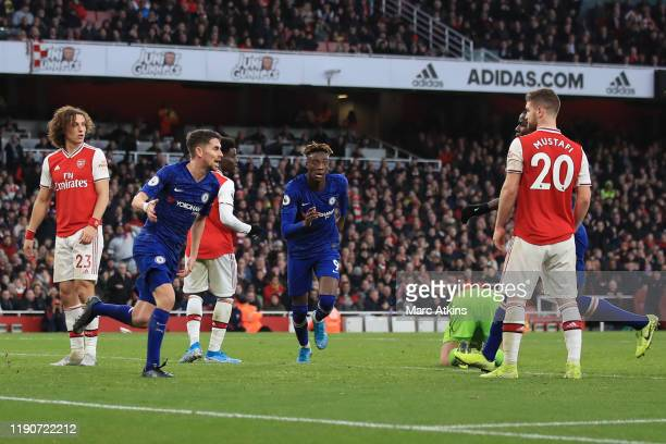 Jorginho of Chelsea celebrates scoring their 1st goal during the Premier League match between Arsenal FC and Chelsea FC at Emirates Stadium on...