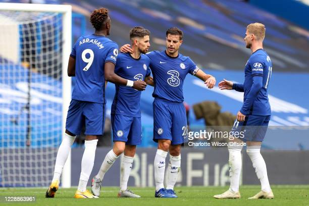 Jorginho of Chelsea celebrates scoring their 3rd goal from the penalty spot with Tammy Abraham Cesar Azpilicueta and Timo Werner during the Premier...