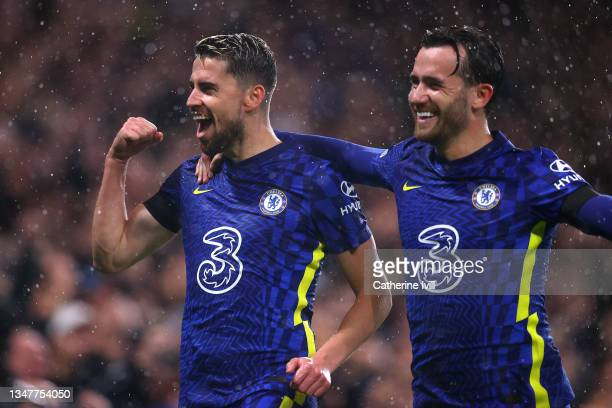 Jorginho of Chelsea celebrates with teammate Ben Chilwell after scoring their team's fourth goal during the UEFA Champions League group H match...