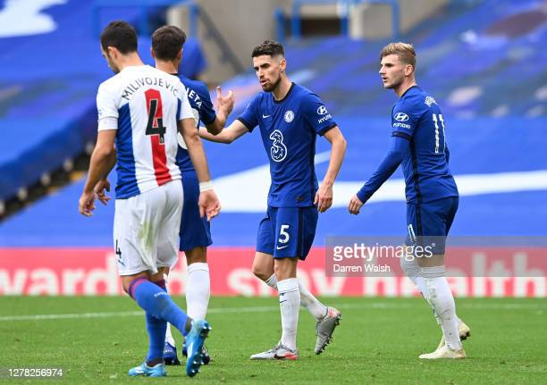 Jorginho of Chelsea celebrates with teammates after scoring his sides fourth goal during the Premier League match between Chelsea and Crystal Palace...