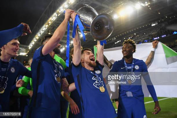 Jorginho of Chelsea celebrates with the Champions League Trophy following their team's victory during the UEFA Champions League Final between...