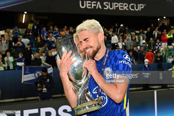 Jorginho of Chelsea celebrates with the trophy after their team's victory in the penalty shootout during the UEFA Super Cup 2021 match between...