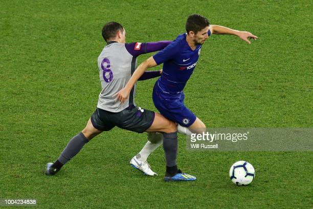 Jorginho of Chelsea controls the ball during the international friendly between Chelsea FC and Perth Glory at Optus Stadium on July 23 2018 in Perth...